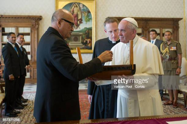 Pope Francis Meets President Of Fiji Jioji Konousi Konrote on March 24 2017 in Vatican City Vatican