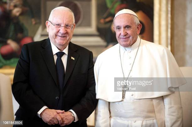 Pope Francis meets President of Israel Reuven Rivlin at Palazzo Apostolico on November 15, 2018 in Vatican City, Vatican.