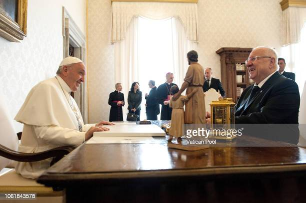 Pope Francis meets President of Israel Reuven Rivlin at Palazzo Apostolico on November 15 2018 in Vatican City Vatican