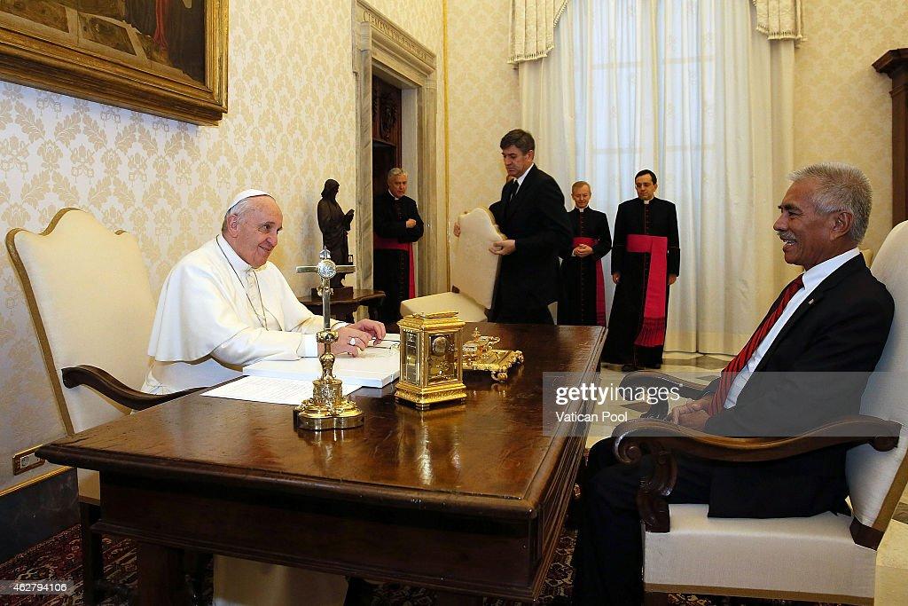 Pope Francis Meets President Of  Kiribati Anote Tong