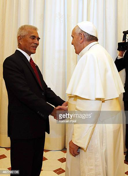Pope Francis meets President of Kiribati Anote Tong on February 5 2015 in Vatican City Vatican During the talks the emphasis was placed on the...