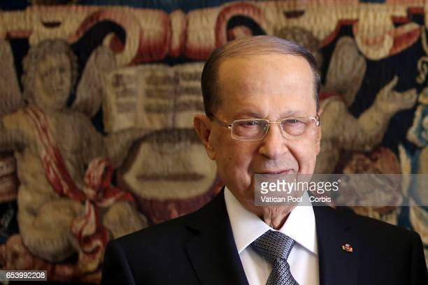 Pope Francis meets President of Lebanon Michel Aoun and his wife Nadia during an audience at the Apostrolic Palace on March 16 2017 in Vatican City...