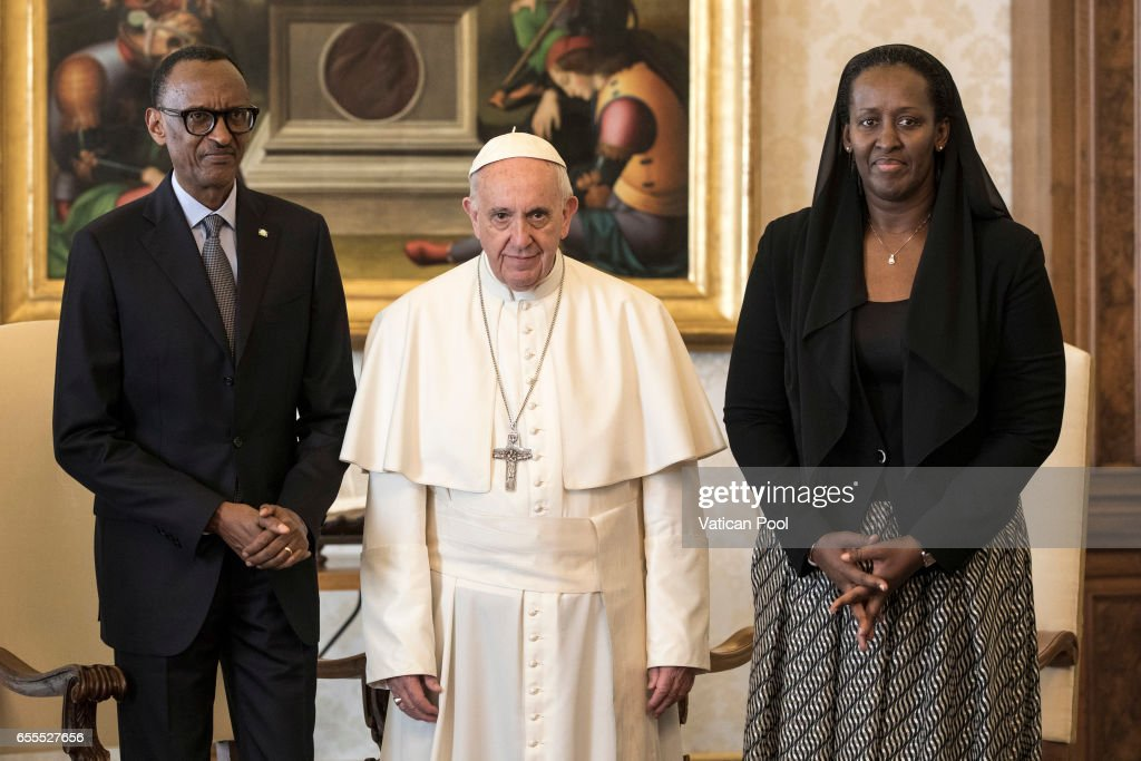 Pope Francis meets President of Ruanda Paul Kagame and his wife Jeannette Nyiramongi during an audience at the Apostrolic Palace on March 20, 2017 in Vatican City, Vatican. A statement from Greg Burke, the Director of the Holy See Press Office, has confirmed that Pope Francis will visit Egypt at the end of April.