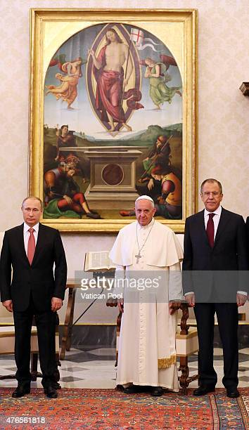 Pope Francis meets President of Russian Federation Vladimir Putin during an audience at the Apostolic Palace on June 10 2015 in Vatican City Vatican...
