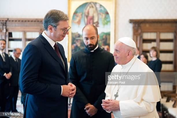 Pope Francis meets President of Serbia Aleksandar Vucic during an audience at the Apostolic Palace on September 12, 2019 in Vatican City, Vatican.