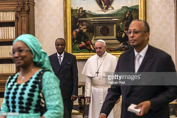 Pope Francis meets President of the Republic of Guinea Alpha Conde and his delegation at the Apostolic Palace on January 16 2017 in Vatican City...