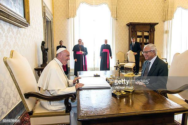 Pope Francis meets President of the Republic of Singapore Tony Tan Keng Yam at the Apostolic Palace on May 28, 2016 in Vatican City, Vatican. Two...