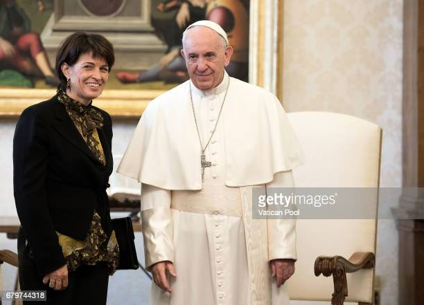 Pope Francis meets President of the Swiss Confederation Doris Leuthard on May 6 2017 in Vatican City Vatican The Pontiff and the President held...