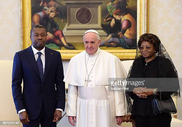 Pope Francis meets President of Togo Faure Gnassingbe and his wife Nana Ama Kufuor at the Apostolic Palace on January 28 2016 in Vatican City Vatican...