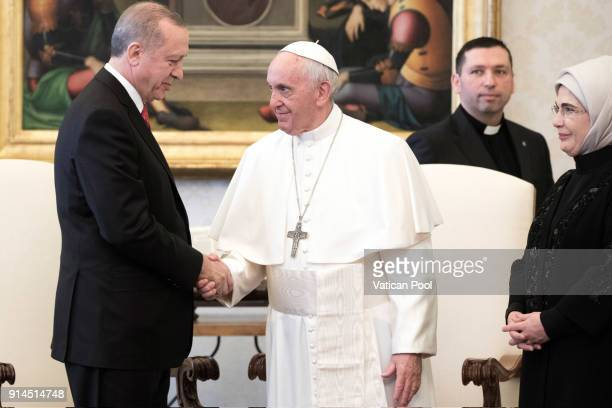 Pope Francis meets President of Turkey Recep Tayyip Erdogan and his wife Emine Erdogan at the Apostolic Palace on February 5 2018 in Vatican City...