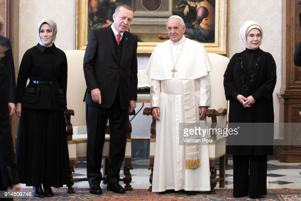 Pope Francis meets President of Turkey Recep Tayyip Erdogan and wife Ermine Erdogan at the Apostolic Palace on February 5 2018 in Vatican City...