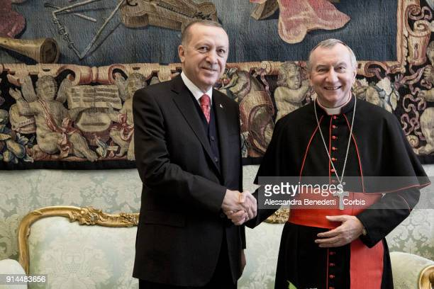 Pope Francis meets President of Turkey Recep Tayyip Erdogan at the Apostolic Palace on February 5 2018 in Vatican City Vatican