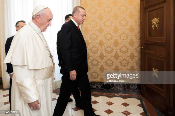 Pope Francis meets President of Turkey Recep Tayyip Erdogan at the Apostolic Palace on February 5 2018 in Vatican City Vatican A President from...
