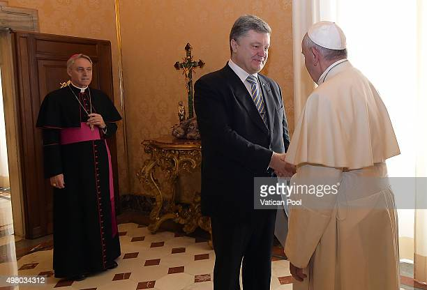 Pope Francis meets President of Ukraine Petro Poroshenko at his private library in the Apostolic Palace on November 20 2015 in Vatican City Vatican A...