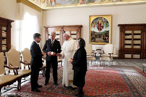 Pope Francis meets President of Urugay Tabare Vazquez and his wife Maria Auxiliadora Delgado at the Apostolic Palace on December 2 2016 in Vatican...