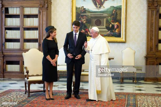Pope Francis meets Prime Minister of Canada Justin Trudeau and his wife Sophie Gregoire at the Apostolic Palace on May 29, 2017 in Vatican City,...