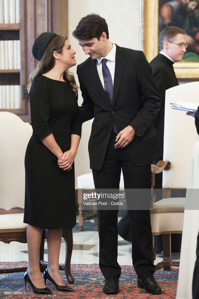Pope Francis Meets Prime Minister of Canada Justin Trudeau and wife Sophie Gregoire on May 29, 2017 in Vatican City, Vatican.