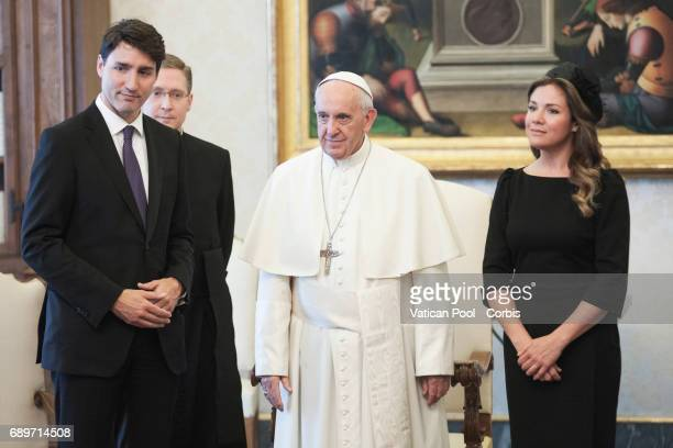 Pope Francis Meets Prime Minister of Canada Justin Trudeau and wife Sophie Gregoire on May 29 2017 in Vatican City Vatican