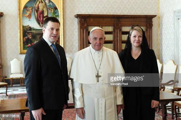 Pope Francis meets Prime Minister of Estonia Juri Rata and his wife at the Apostolic Palace on February 9 2018 in Vatican City Vatican Pope Francis...