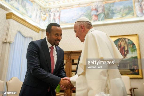 Pope Francis meets Prime Minister of Ethiopia Abiy Ahmed Ali during an audience at the Apostolic Palace on January 21 2019 in Vatican City Vatican...