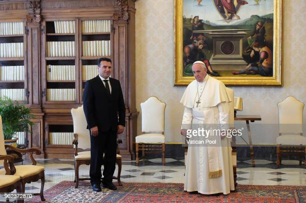 Pope Francis meets Prime Minister of the Former Yugoslav Republic of Macedonia Zoran Zaev during an audience at the Apostolic Palace on May 25 2018...