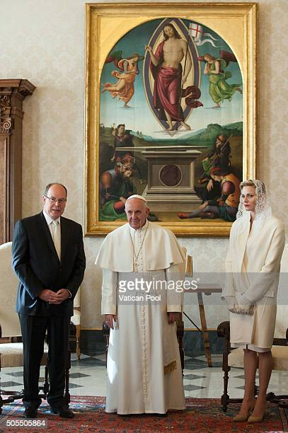Pope Francis meets Prince Albert II of Monaco and Princess Charlene of Monaco during at the Apostolic Palace on January 18 2016 in Vatican City...