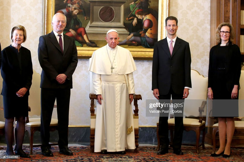 Pope Francis Meets Members Of The Princely House of Liechtenstein : News Photo