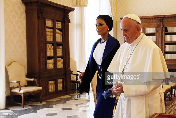 Pope Francis meets Sheikha Mozah bint Nasser Al Missned at his private library in the Apostolic Palace on June 4 2016 in Vatican City Vatican Her...