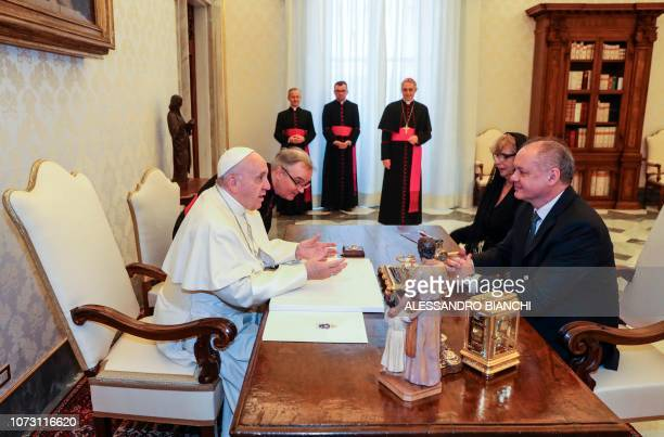 Pope Francis meets Slovakia's President Andrej Kiska during a private audience at the Vatican on December 14 2018