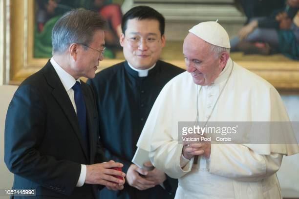 Pope Francis Meets South Korean President Moon Jaein at the Vatican on October 18 2018 in Vatican City Vatican