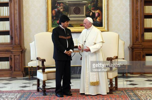 Pope Francis meets the Bolivian President Evo Morales during an audience at the Apostolic Palace on June 30 2018 in Vatican City Vatican On Thursday...