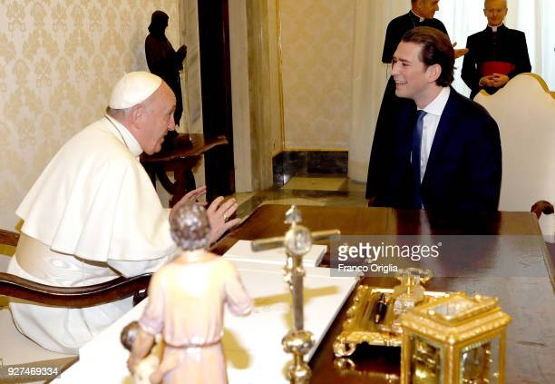 Pope Francis meets the Chancellor of Austria Sebastian Kurz at the Apostolic Palace on March 5 2018 in Vatican City Vatican