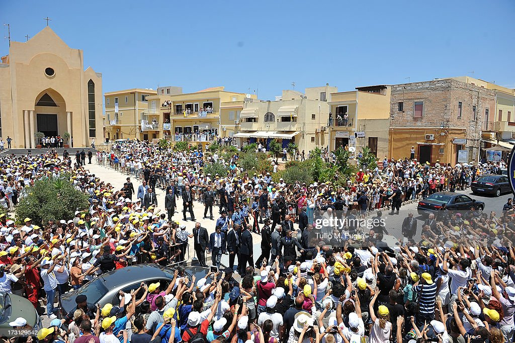 Pope Francis Visits The Island of Lampedusa : News Photo
