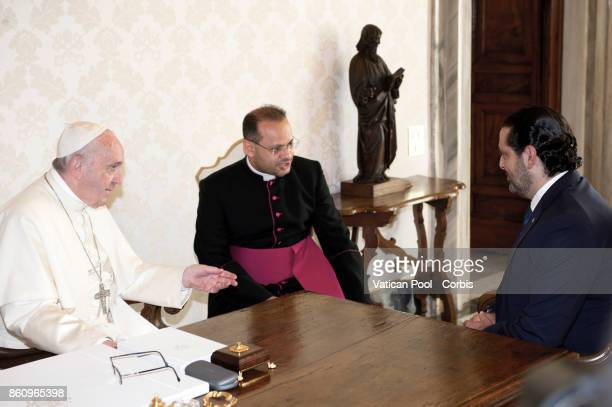 Pope Francis Meets the Lebanon Prime Minister Saad Hariri on October 13 2017 in Vatican City Vatican