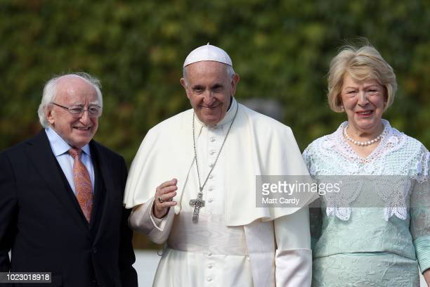 Pope Francis meets the President of Ireland Michael D Higgins and his wife Sabina Coyne at Aras an Uachtarain on August 25 2018 in Dublin Ireland...
