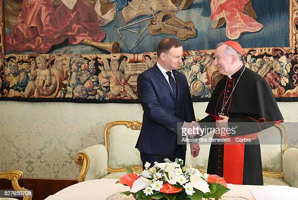 Pope Francis meets the President of Poland Andrzej Duda in the Private Library of the Apostolic Palace with wife Agata and doughter Kinga