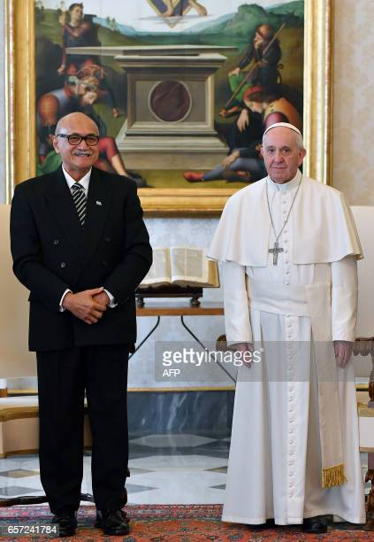 Pope Francis meets the President of the Republic of Fiji Jioji Konousi Konrote during a private audience on March 24 2017 at the Vatican / AFP PHOTO...
