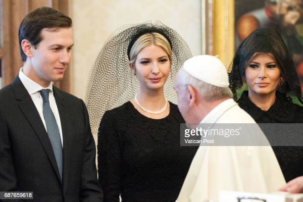 Pope Francis meets United States First Lady Melania Trump Ivanka Trump and Jared Kushner at the Apostolic Palace on May 24 2017 in Vatican City...
