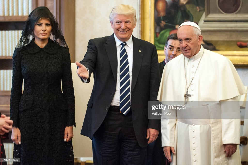 Pope Francis meets United States President Donald Trump and First Lady Melania Trump at the Apostolic Palace on May 24, 2017 in Vatican City, Vatican. The President Trump will return on Italy on Friday attending the Group of 7 Summit in Sicily.