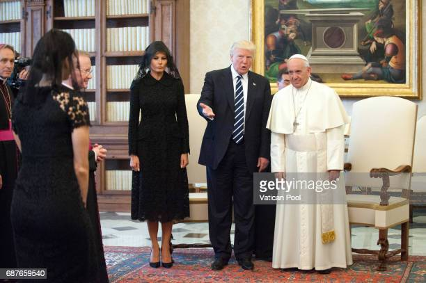 Pope Francis meets United States President Donald Trump and First Lady Melania Trump at the Apostolic Palace on May 24 2017 in Vatican City Vatican...