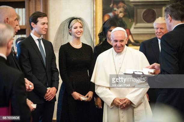 Pope Francis meets United States President Donald Trump First Lady Melania Trump Ivanka Trump and Jared Kushner at the Apostolic Palace on May 24...