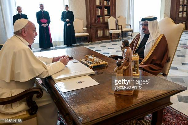 Pope Francis meets with Bahrain's Crown Prince Salman bin Hamad bin Isa alKhalifa on February 3 2020 during a private audience at the Vatican