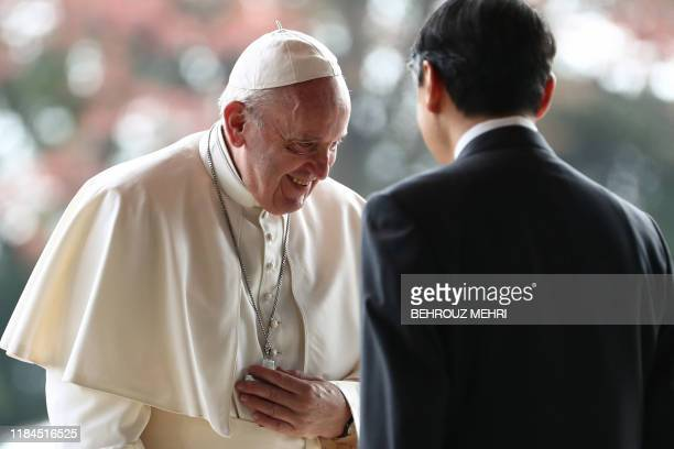 Pope Francis meets with Emperor Naruhito as he arrives at the Imperial Palace in Toyko on November 25 2019 Pope Francis called for renewed efforts to...