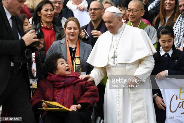 Pope Francis meets with JapaneseCanadian nuclear disarmament campaigner and 'Hibakusha' who survived the atomic bombing of Hiroshima on August 6...