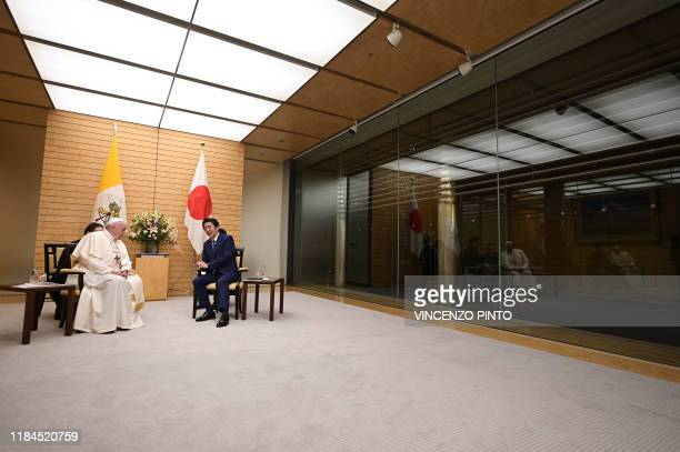 Pope Francis meets with Japan's Prime Minister Shinzo Abe at the prime minister's official residence in Tokyo on November 25 2019 Pope Francis called...