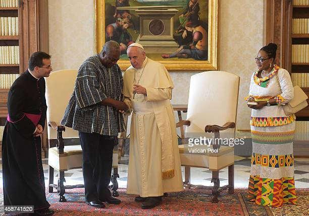 Pope Francis meets with President of Ghana John Dramani Mahama and his his wife Lordina Dramani Mahama at the Apostolic Palace on November 10 2014 in...