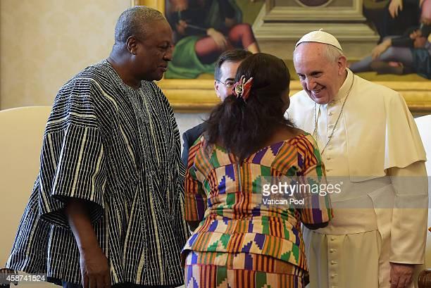 Pope Francis meets with President of Ghana John Dramani Mahama and his delegation at the Apostolic Palace on November 10 2014 in Vatican City Vatican...