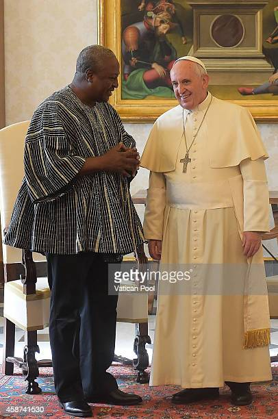 Pope Francis meets with President of Ghana John Dramani Mahama at the Apostolic Palace on November 10 2014 in Vatican City Vatican Every Christian...