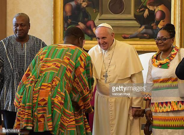 Pope Francis meets with President of Ghana John Dramani Mahama his wife Lordina Dramani Mahama and his delegation at the Apostolic Palace on November...