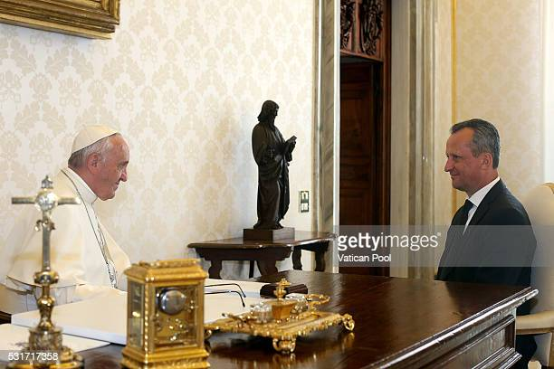 Pope Francis meets with President of Macedonia's Parliament Trajko Veljanoski during an audience at the Apostolic Palace on May 16 2016 in Vatican...